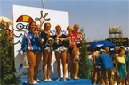Women's 10 metre platform synchronised diving awards in Seville 1997 featuring Arboles- Souchon and Danaux (France), silver, Wetzig and Piper (Germany), gold, and Reiff and Richter (Austria), bronze (Photo by Peter Huber)
