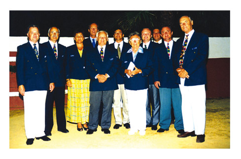 LEN Technical Diving Committee in 1994: left to right, Hans-Peter Burk, Michael Geissbuhler, Bente Johnson, Sven Folvik, Toivo Ohman, Ricardo Camacho, Maria Cermakova, Dario Scala, Frans Konijnenburg, Alexey Evangulov, and Peter Huber (missing Chris Snode)